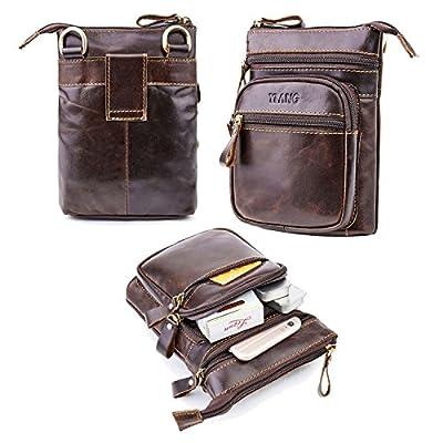 Cuir véritable Sac banane, Aolvo vertical téléphone portable Holster ceinture/sac à dos pour hommes, pour homme incliné Sac à bandoulière