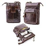 Echt Leder Bauchtasche, AOLVO Vertikal Handy Holster Taille/Gürtel Rucksack für Herren, Herren geneigt Schultertasche dunkelbraun