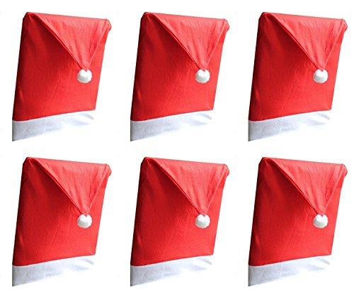Vi.yo 6PCS Papá Noel Red Hat Silla de contraportada Silla de Comedor Cubiertas de Asiento Fiesta de Navidad Decoración Set