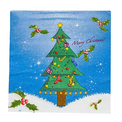 (Momangel 20 Servietten, Weihnachtsmann Schneemann, Hirschglocken, bedruckt, Einweg-Tissue für Weihnachten, Partys Tree #)
