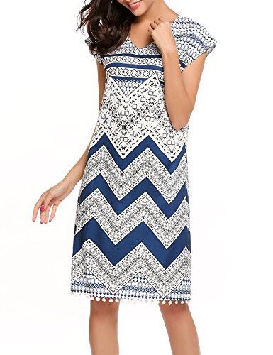 Beyove Damen Boho Geometrische Muster Sommerkleid Strandkleid V-Ausschnitt Etuikleid mit Tassel Trim am Saum Muster 2