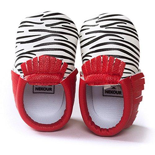 Happy Cherry Babyschuhe Kunstleder Unisex Baby Lauflernschuhe 11-13cm Länge Schwarz Punkte Tassel Schuhe für Baby 0-18 Monate Krabbelschuhe - Größe/Farbe Wählbar Rot