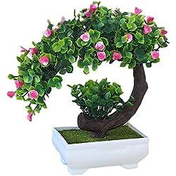 Künstliche Pflanzen Blumen im Topf Kunststoff Stäucher Topfblumen Künstlich Pflanzen für Küche Wohnzimmer Garten Hause Deko