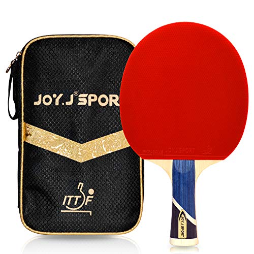 Joy.J Sport ITTF Genehmigter Tischtennisschläger, Professioneller Tischtennis-Schläger, Ideal für Zwischenspieler und Fortgeschrittene Spieler (Zwischenspieler-Fortgeschrittene)