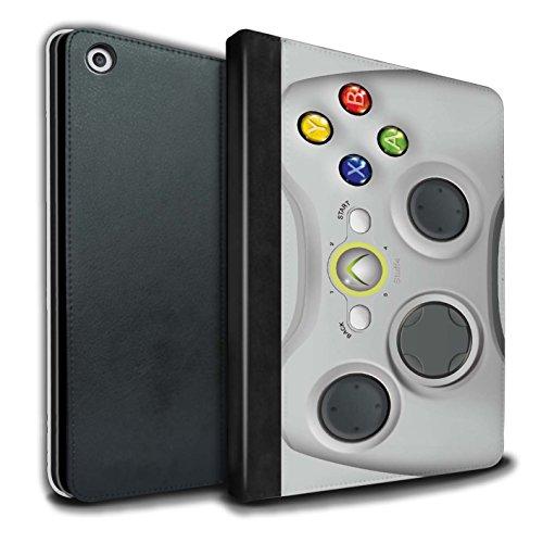 STUFF4 PU-Leder Hülle/Case/Brieftasche für Apple iPad 9.7 (2017) tablet / Weiß Xbox 360 Muster / Spielkonsolen Kollektion (Xbox 360 E Fall-haut)