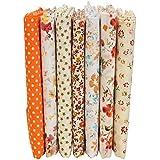 KING DO WAY - Lote de 7 telas de algodón, diseños variados, 50 x 50 cm, color naranja