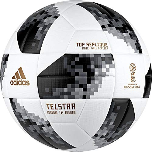 adidas Herren Telstar 18 Top Replique Ball, White/Black/Silver Metallic, 5 -