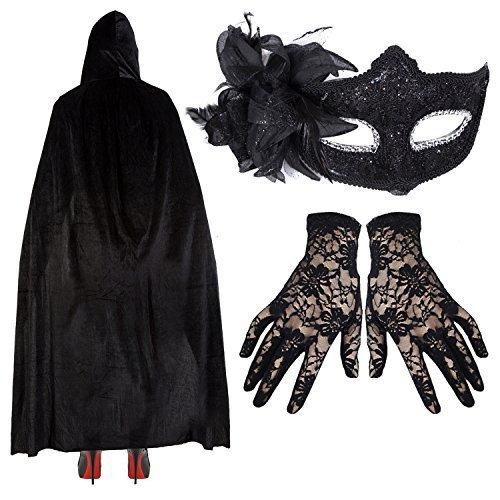 Damen Deluxe Masquerade Halloween Kostüm - Schwarze Spitze Maske + Umhang + Handschuhe - Schwarz