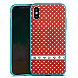 DeinDesign Apple iPhone XS Slim Case transparent hellblau Silikon Hülle Schutzhülle Dots Tapete Wallpaper