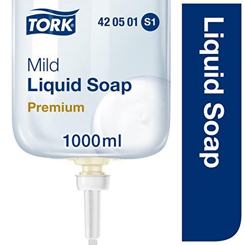 Tork 420501 milde Flüssigseife Premium für Tork S1 Seifenspendersysteme / Milde Handseife pH-hautneutral für weiche und hygienisch gepflegte Hände / 1x 1000ml - Feuchtigkeitsspendende Parfüm