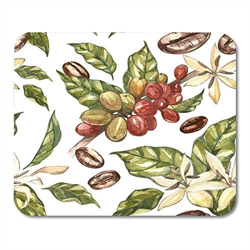 Deglogse Gaming-Mauspad-Matte, Food Green Plant Red Coffee Arabica Beans on Branch with Flowers Watercolor Watercolour Agriculture Mouse Pad,Desktop Computers Mouse Mats, (Yoga-matte Bean)