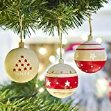 Victor's Workshop 3 Pezzi Natale Decorazioni, 6.5cm Ornamenti da Appendere con Sfere di Natale con Stelle per la Decorazione dell'albero di Natale