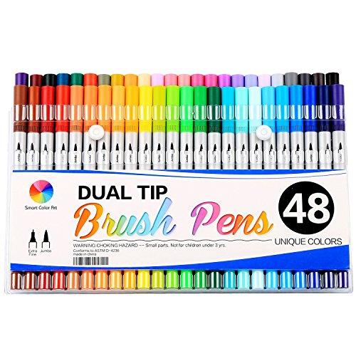Smart Color Art-Doppia punta pennello penne con punta Fineliner 0,4Art Marker (48colori unici)