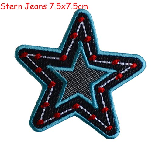 Floral Glitter-applikationen (2 iron-on patches fabric appliques Star Jeans 7.5x7.5 and Anchor 5x5cm TrickyBoo Design Zurich)