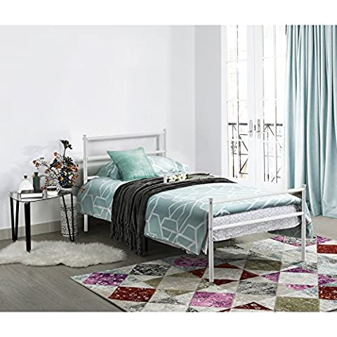 Aingoo Single Metal Bed Frame 3Ft Small Size White