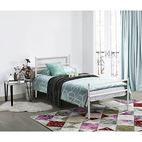 Aingoo Single Bett Einzelbett Metallbett Tagesbett Bettgestell Jugendbett Bettrahmen Bett Weiß Liegefläche 90x190cm