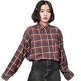 Haroty Damen Fashion Klassisch Vintage Langarmshirts Frühherbst Lose Fledermausärmel Hemd College Style Karohemd (Rot)