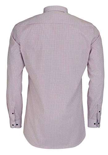 Eterna Long Sleeve Shirt Slim Fit Stretch Checked Rosso