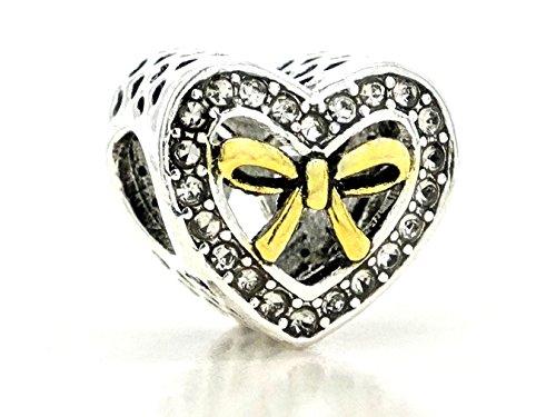 Ciondolo in argento sterling a forma di cuore con oro papillon circondato da chiaro gemme con borsa viola e nero confezione regalo