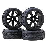 BQLZR 4PCS RC1:10 On-Road Racing Car Tires With 7-Spoke Plastic Wheel Rims Black