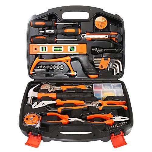 100 Piece Home Office Garage Tool Kit Mit Hammer, Adjustable Wrench, Kombinationszangen, Tin Snips, Cutting Tool, Bit Driver & Screwdriver Bits, Präzisionsschraubtreiber, Messband-Und Duct-Tape