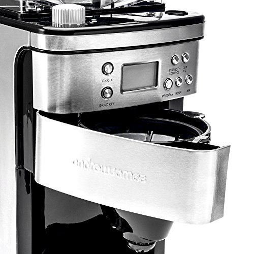 Andrew James Bean To Cup Coffee Machine Filter Coffee Maker With Grinder Anti Drip 15l Carafe With Timer Keep Warm Functions 1100w Stainless