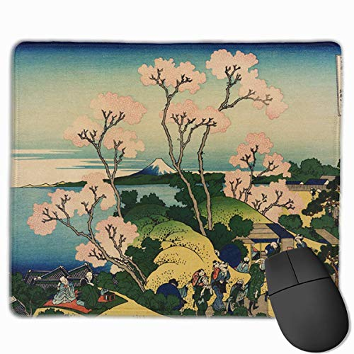 Hokusai Japan Ink Cherry Blossom Mount Fuji Personalized Design Mauspad Gaming Mauspad with Stitched Edges Mousepads, Non-Slip Rubber Base, 300 x 250 x 3 mm Thick - Best Gift Idea -