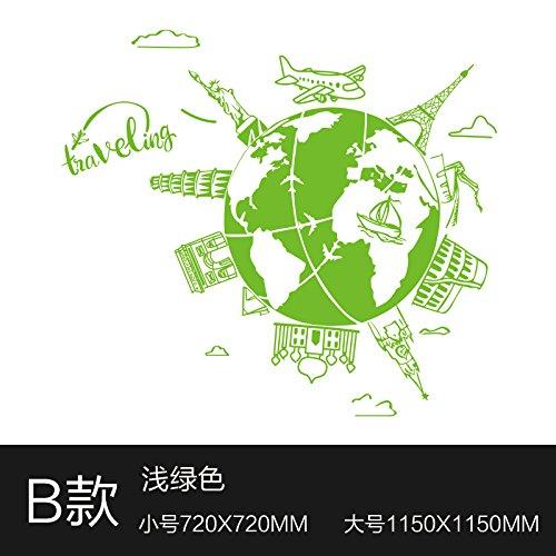 XiaoGao creative célèbre bâtiment tour decoration wall paper company, atelier peinture historique mur autocollant,vert pâle 1150 * 1150 mm