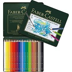 Faber-Castell 117524 - Estuche de metal con 24 lápices de colores acuarelables, multicolor