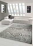 Designer Teppich Moderner Teppich Wohnzimmer Teppich mit Glitzer Stein Optik in Grau Weiss Schwarz Größe 80x150 cm