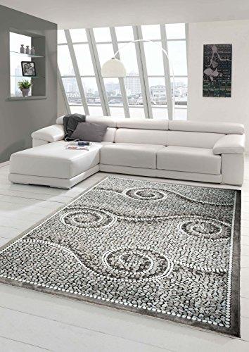 Designer Teppich Moderner Teppich Wohnzimmer Teppich mit Glitzer Stein Optik in Grau Weiss Schwarz Größe 120x160 cm
