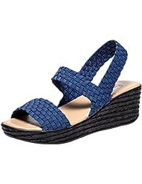 Longra Sandali Luminosi Sandali Aperti Sandali Impermeabili Pantofole Scarpe da Spiaggia Aumenta Le Scarpe Tacchi Alti con Suola Spessa (39, Blu)