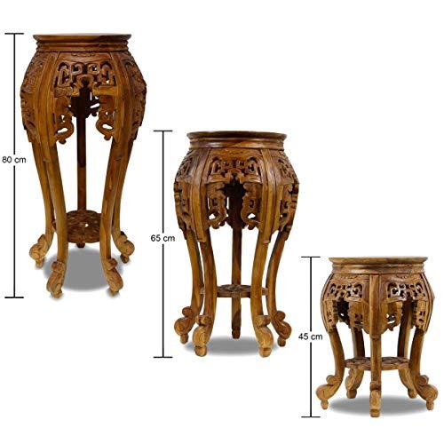 Oriental Galerie Beistelltisch Nachttisch Rundhocker Blumenhocker Teak Holz Hocker Barock Massiv, Farbe:Braun, Größe:65 cm