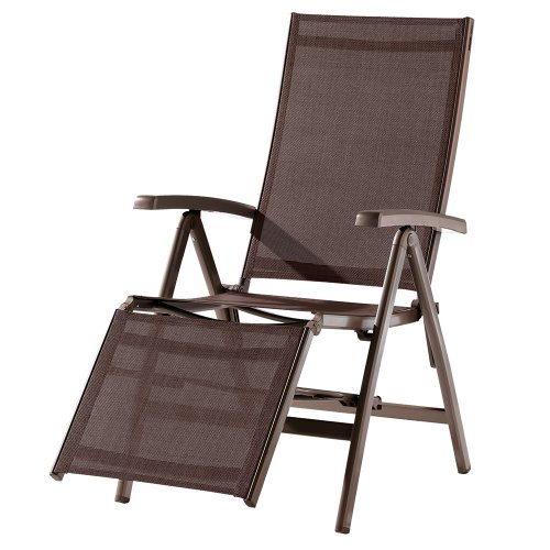 Sieger 985/MR-M Relaxsessel Bodega, 95 x 62 x 109 cm, Aluminiumgestell marone, Textilgewebe mocca
