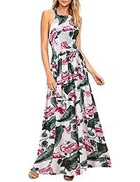 d4ae12262d5 BMJL Femme Robe Longue Noir Floral Chic sans Manches V Col Rayé Patchwork  Vintage Style Casual soirée Pas Cher