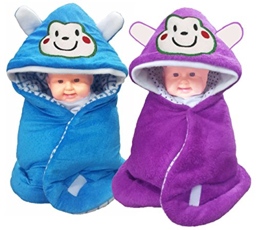 Brandonn 3 In 1 Baby Wrapper or Blanket Cum Sleeping Bag Bedding (Blue and wine, Pack of 2)