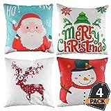 4 Stück Weihnachten Designs Kissenbezug Set für Festliche Hausdekoration und Wohnzimmer Akzent (Kissen Nicht im Lieferumfang enthalten)