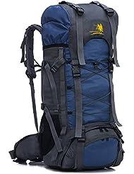 Mochila, 60L, unisex, multifuncional, senderismo, impermeable, resistente al agua, mochila de viaje, camping, ciclismo, deportes, azul
