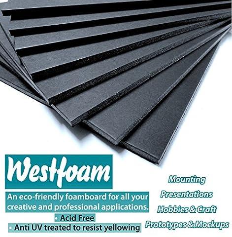 Foam Board A2 (420mm x 594mm) Black Moutning 5mm Thick Foam Sign Display Model Sheet Foamboard Backdrop Craft (1 Sheet