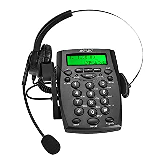 AGPtek Business / Call Center Dialpad Headset Telephone with Tone Dial Key Pad & REDIAL - Headphones Desk Telephone with Headband Noice Cancelling and Power save function - provide the voice recorder port