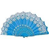 Aobiny Fan, Chinese/Spanish Style Dance Wedding Party Lace Silk Folding Hand Held Flower Fan (Sky Blue)