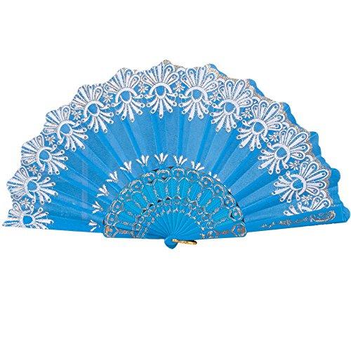 Andouy Retro Faltfächer/Handfächer/Papierfächer/Federfächer/Sandelholz Fan/Bambusfächer für Hochzeit, Party, Tanzen(23cm.Himmelblau) (Jetson Kostüm)