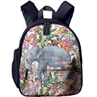 Elephant and Flowers Double Zipper Waterproof Children Schoolbag Backpacks with Front Pockets for Teens Boys Girls