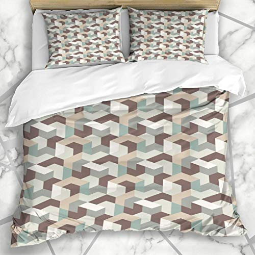 Erde Bettbezug Set (Soefipok Bettbezug-Sets Farbe Blau Erde Geometrisches Muster Abstrakt Natur Ton Künstlerische Leinwand Kreatives Design Grafik Mikrofaser Bettwäsche mit 2 Kissenbezügen)