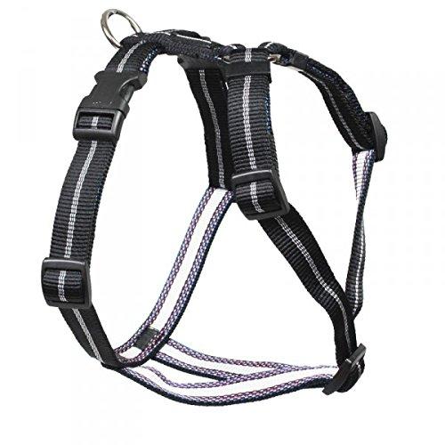 Feltmann Mopsgeschirr Hundegeschirr Soft Nylon, schwarz Streifen, 7-13 kg, 20 mm