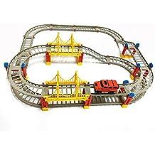 75 piezas Pistas de carreras flexibles Juego de juguete para automóvil, edificio de rompecabezas DIY Juego de regalo eléctrico para automóvil de construcción de transporte eléctrico para niños