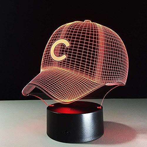 3d led nachtlicht baseball team c cap licht hiphop hut nachtlicht schreibtisch tischlampe für kinder schlaf licht licht für sport fan beste geschenk
