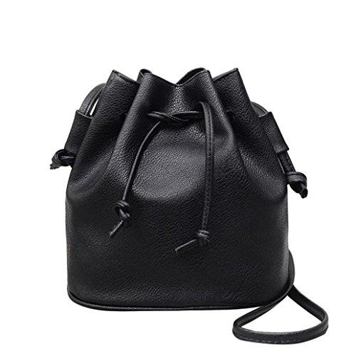 Dragon868 Elegante Umhängetasche aus Leder Frauen Pure Farbe Schultertasche Messenger Bag Handtasche Satchel (Schwarz) (Unter 20 Satchel Schwarze)