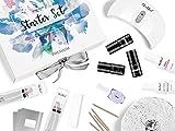 NeoNail Starter Set Geschenkbox Nagelstudio 3x 6ml UV Nagellack Natural Beauty Base Top LED Lampe 9W kabellos und mehr Zubehör