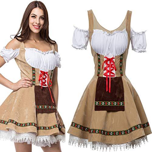 Damen Kostüm Halloween Party Beer Maid Kellnerin Uniform Cosplay Kurzer Rock Outfit Erwachsenen Kostüm Dress Up Drama Kleid (Bier Themen Kostüm)